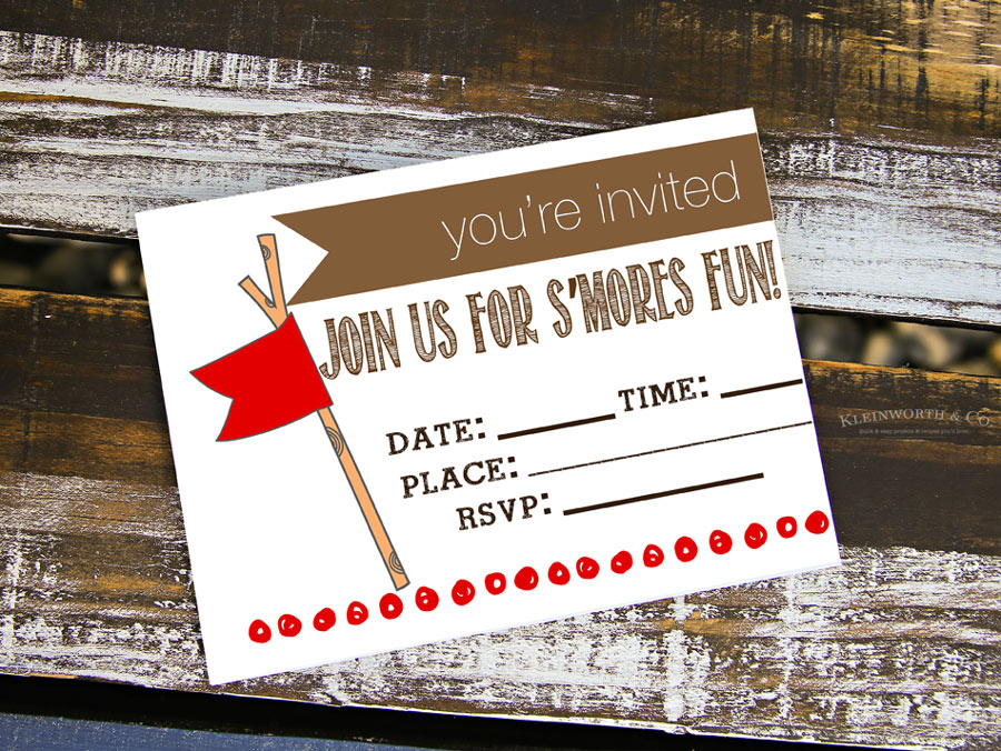 Smores Party Free Printable Invitations Kleinworth Co