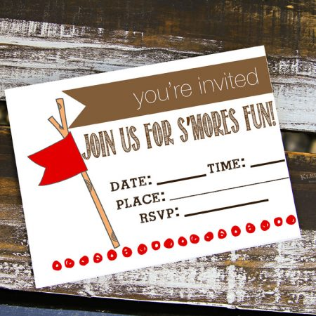 S'mores Party Free Printable Invitations