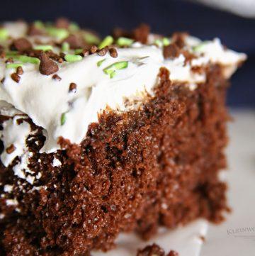 Chocolate Mint Poke Cake