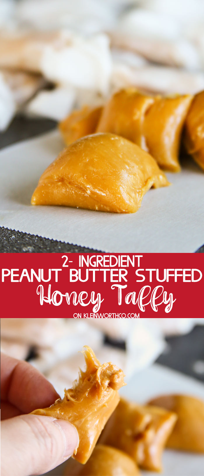 Peanut Butter Stuffed Honey Taffy