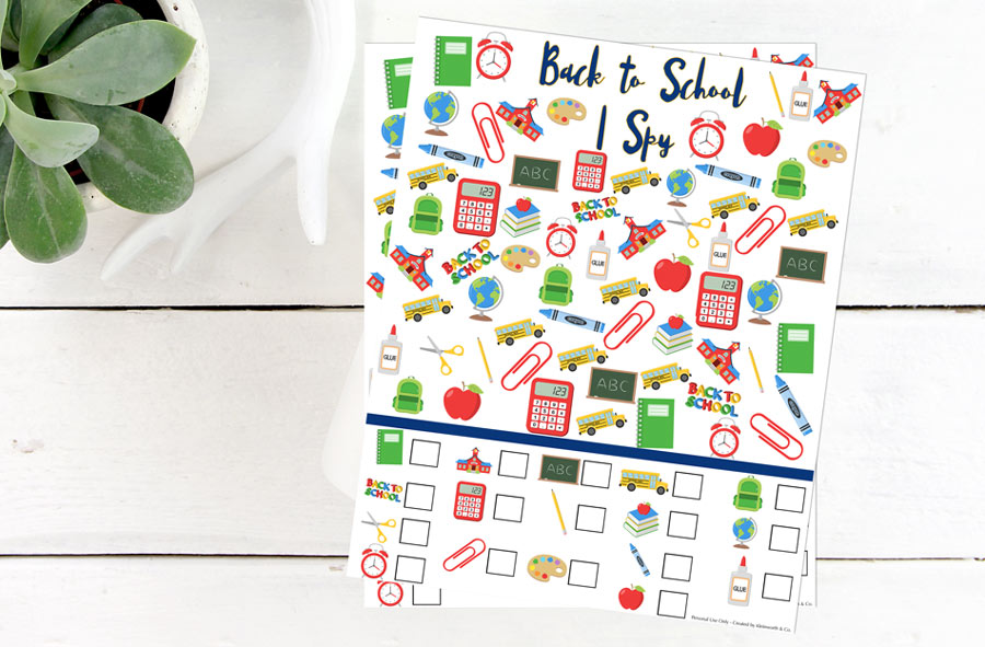 Back to School I Spy Printable