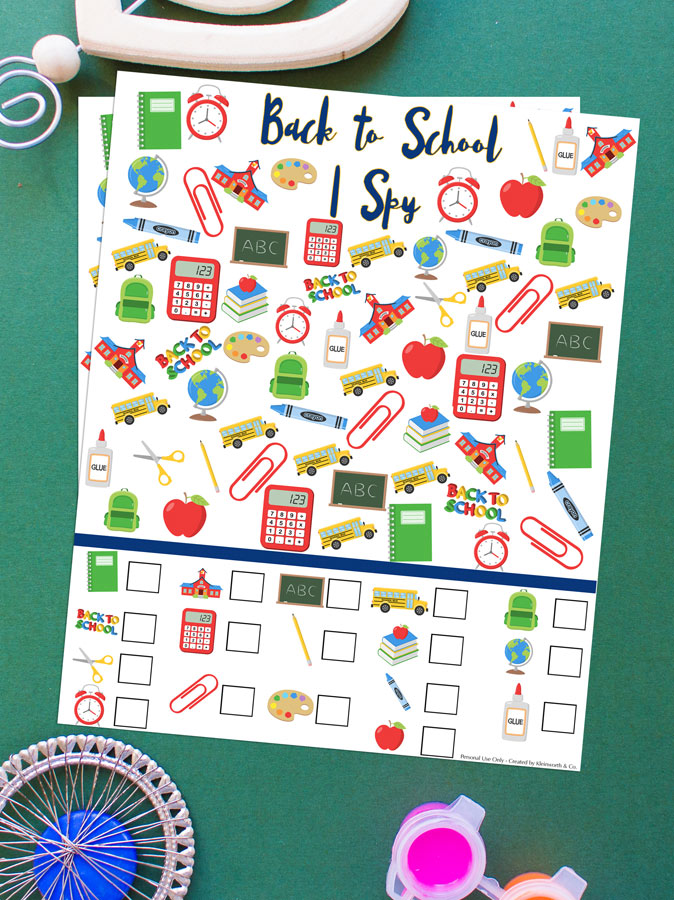 Back to School I Spy Printable - kids activity