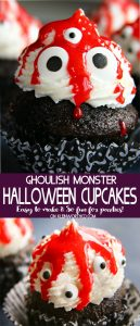 Ghoulish Monster Halloween Cupcakes