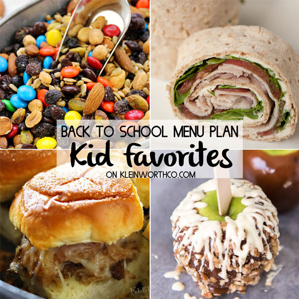 Back to School Kid Favorites Menu Plan