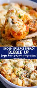 Chicken Spinach & Sausage Bubble Up dinner recipe