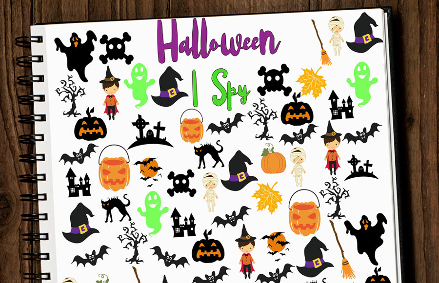image relating to Free Halloween Printable titled Cost-free Halloween I Spy Printable - Kleinworth Co