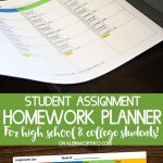 Student Assignment Homework Planner Printable