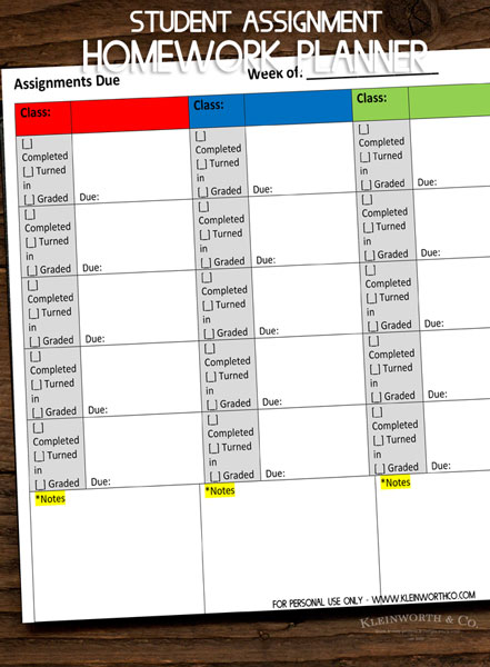 Student Assignment Homework Planner Printable