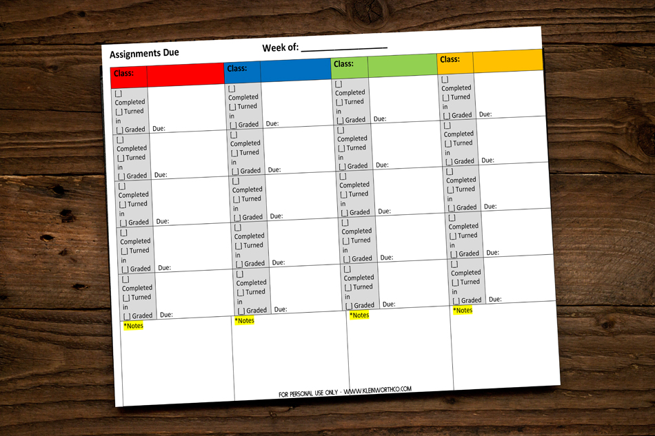 Student Assignment Homework Planner Printable - Kleinworth & Co