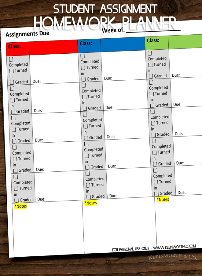 photo about Printable Homework Planner known as University student Assignment Research Planner Printable - Kleinworth Co