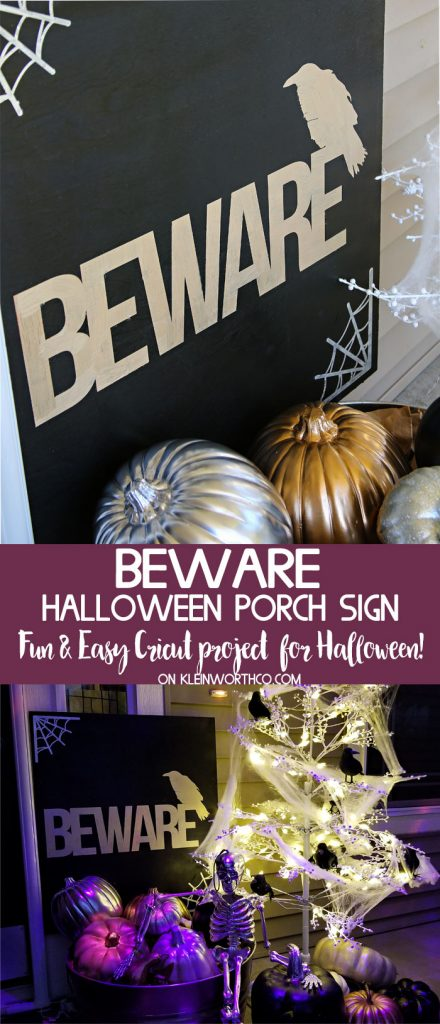 How to make an easy Beware Halloween Porch Sign