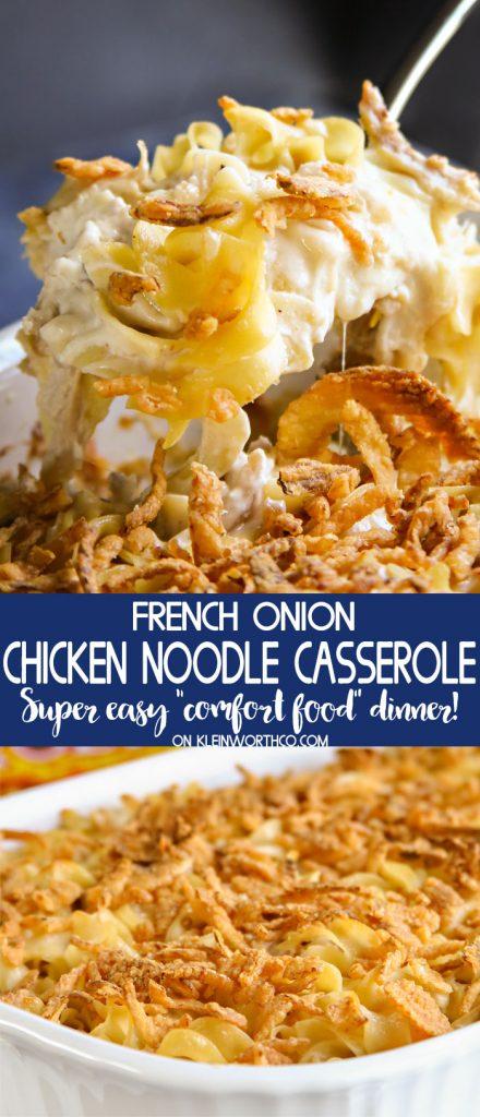 French Onion Chicken Noodle Casserole dinner recipe
