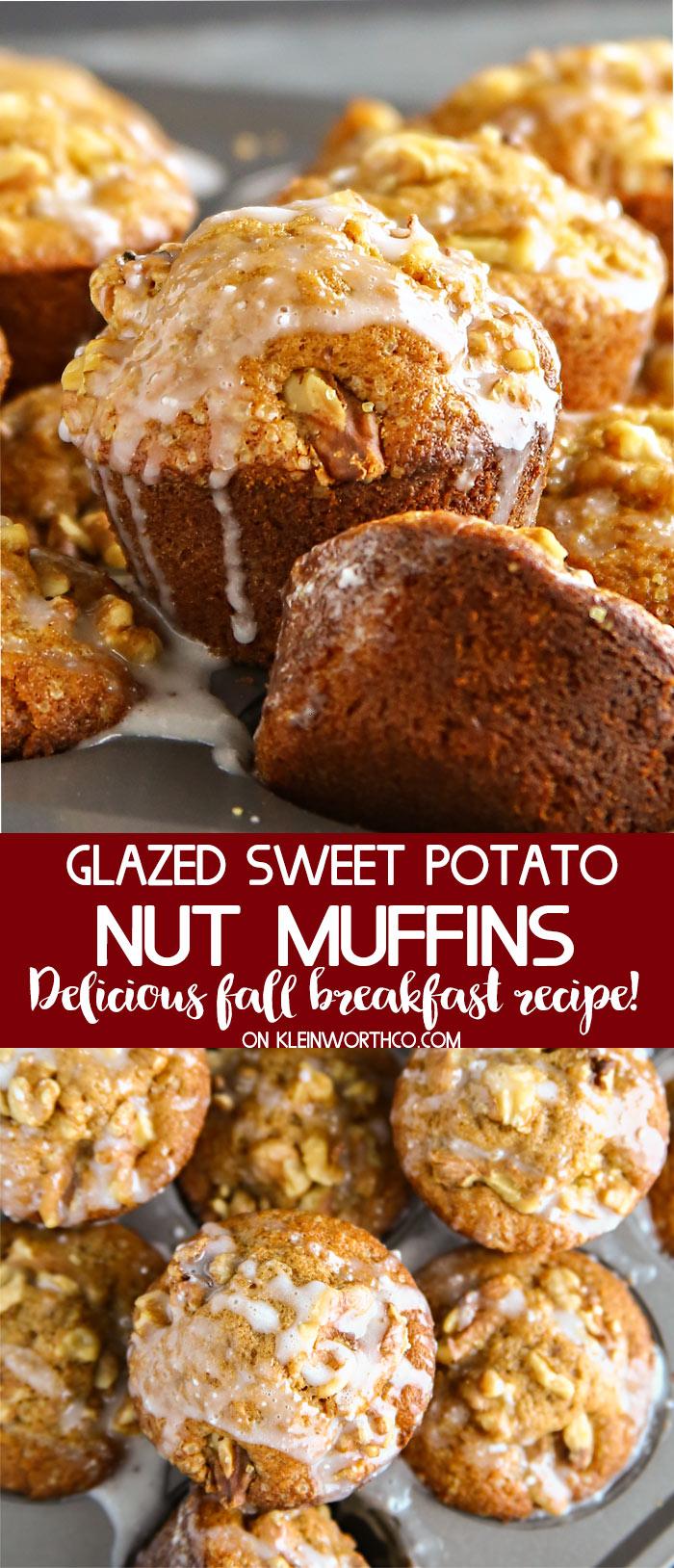 Glazed Sweet Potato Nut Muffins