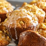 Glazed Sweet Potato Nut Muffins