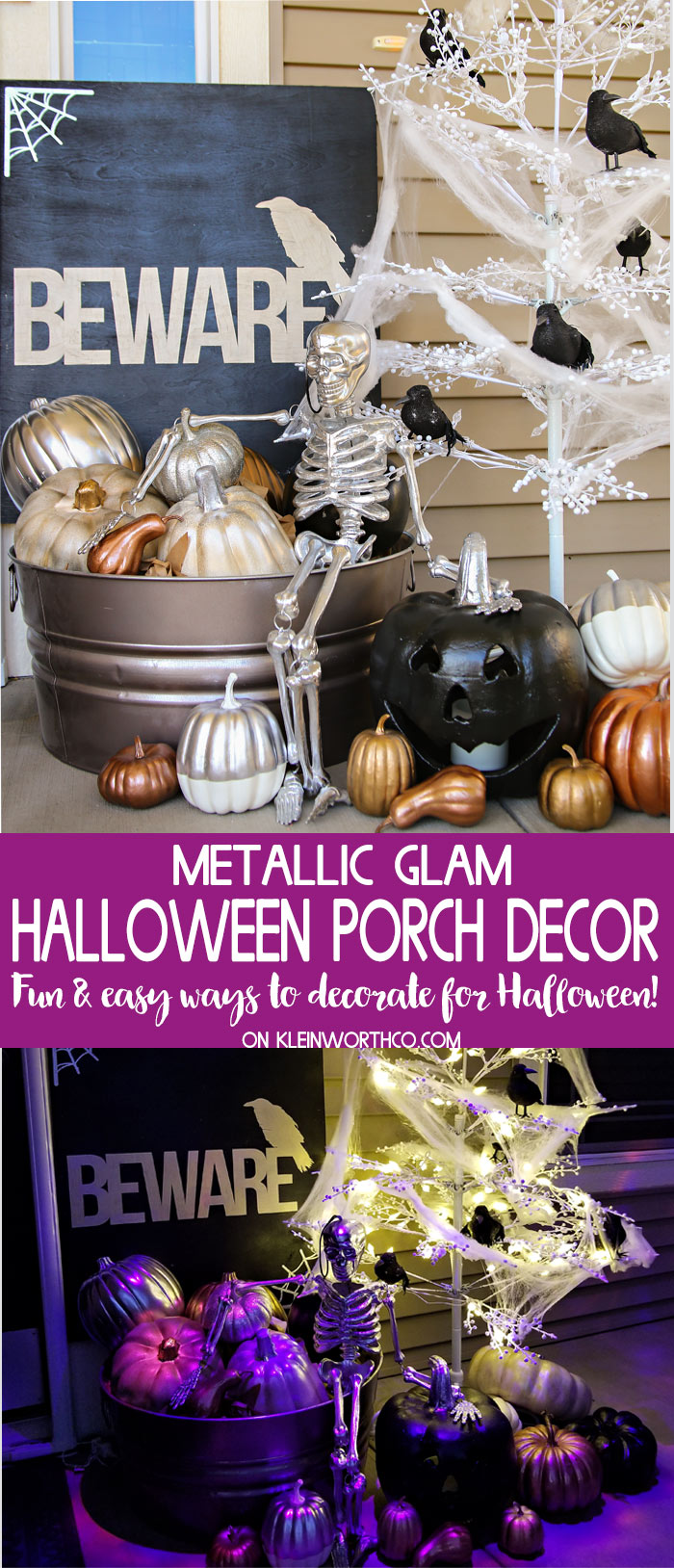 Best Halloween Decorations- Metallic Glam Halloween Porch Decor