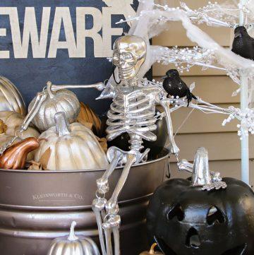 Metallic Glam Halloween Porch Decor