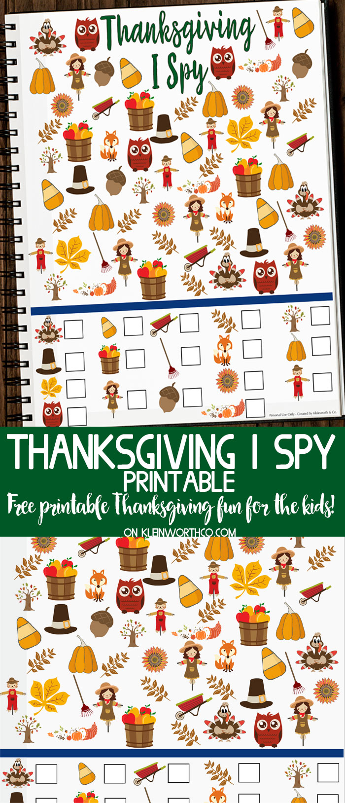 Free Thanksgiving I Spy Printable for kids on Thanksgiving