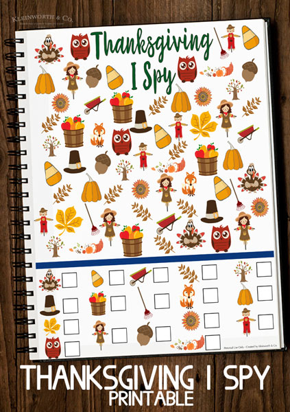 Free Thanksgiving I Spy Printable - free printables for kids