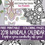 2018 Mandala Adult Coloring Page Calendar Free Printable