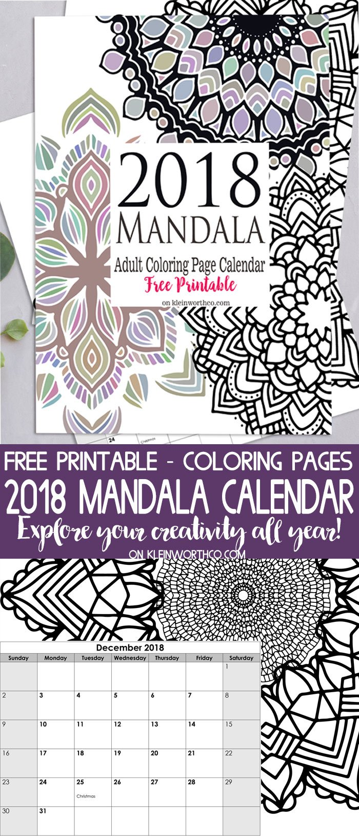 picture relating to Printable Coloring Calendar titled 2018 Mandala Grownup Coloring Webpage Calendar No cost Printable