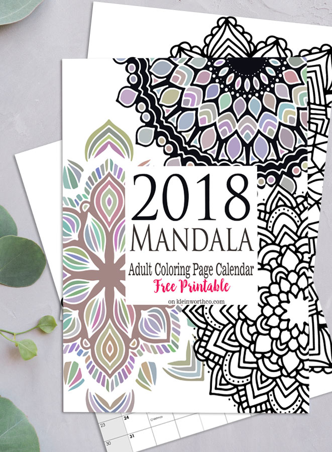 2018 Mandala Adult Coloring Page