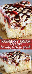 Raspberry Cream Poke Cake - easy dessert