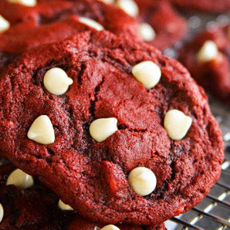 Red Velvet White Chocolate Chip Cookies