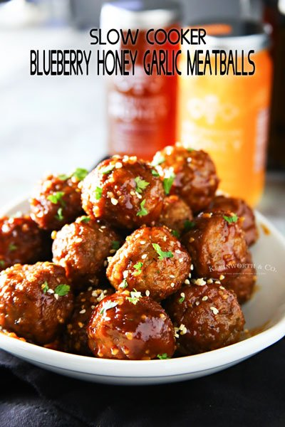 Slow Cooker Blueberry Honey Garlic Meatballs
