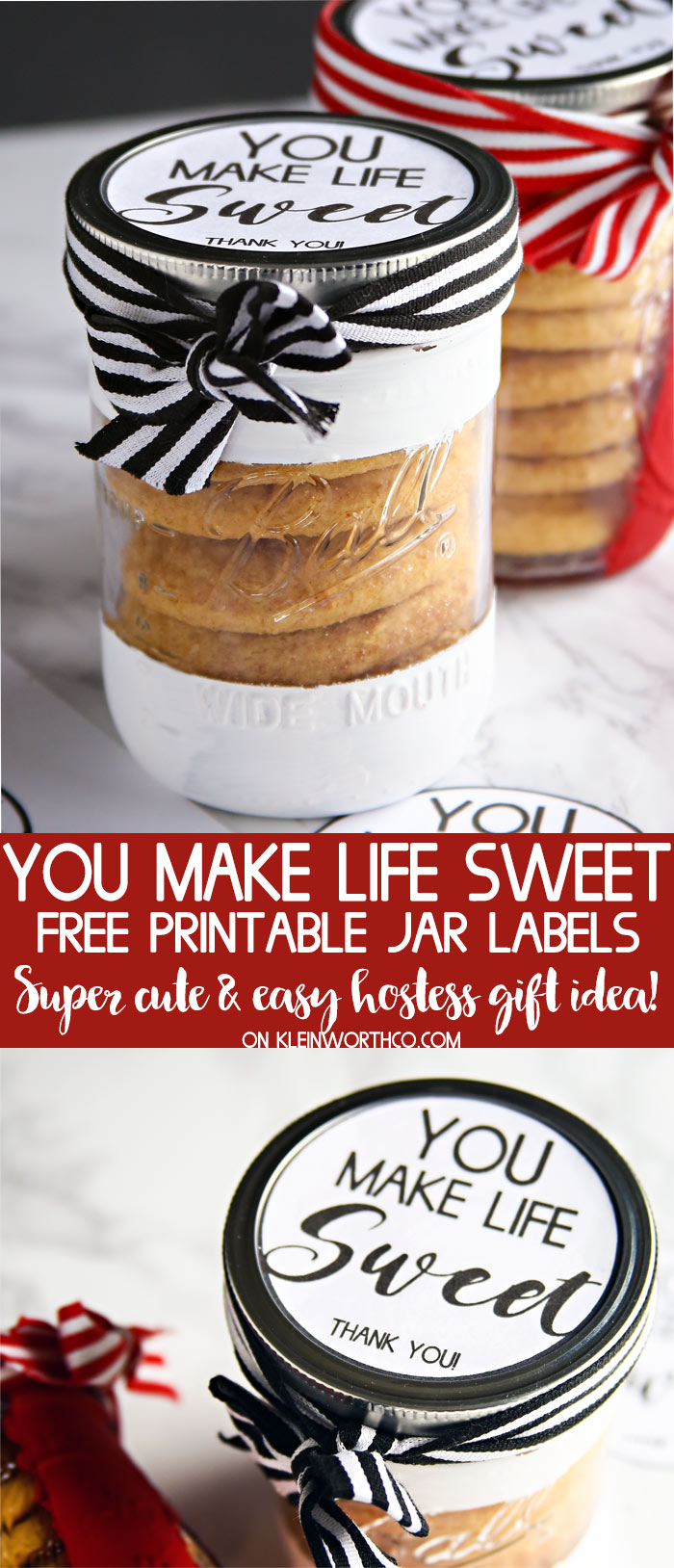 You Make Life Sweet - Free Printable Jar Label Gift Idea