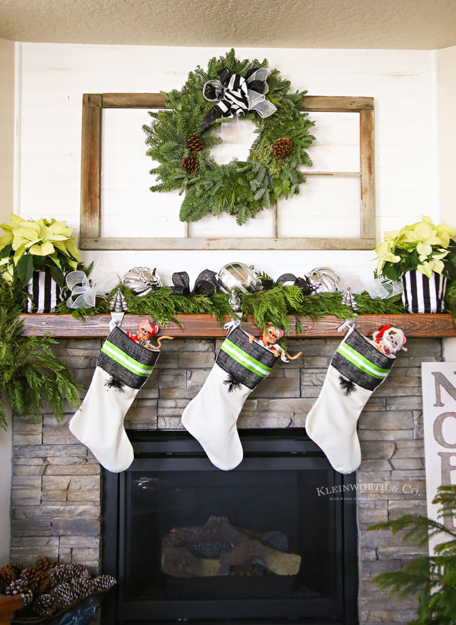 Black and white Christmas mantel