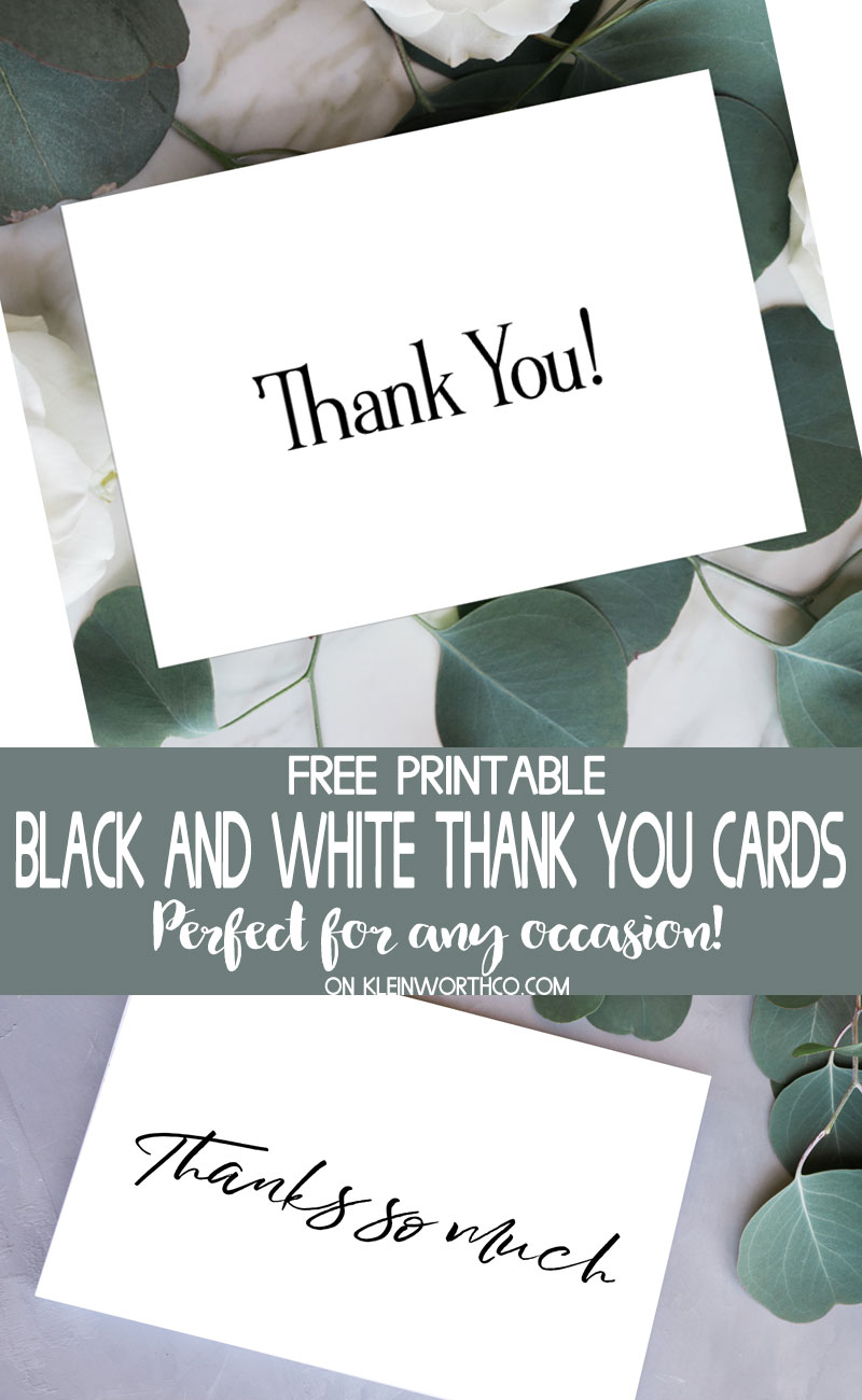 photograph about Free Printable Thank You Cards With Photo named Black White Thank On your own Playing cards - Free of charge Printable - Kleinworth Co