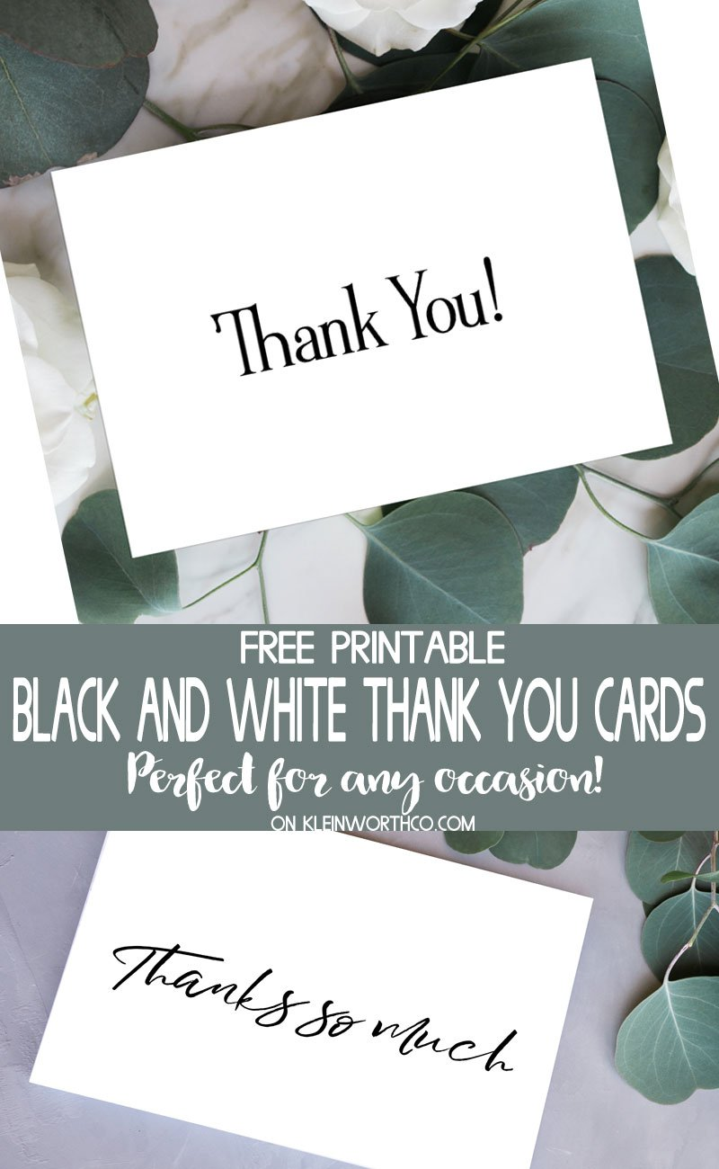 Punchy image with regard to free printable thank you cards black and white