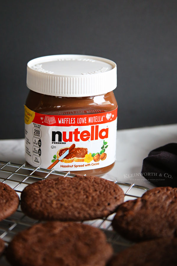 chocolate holiday cookies with Nutella spread