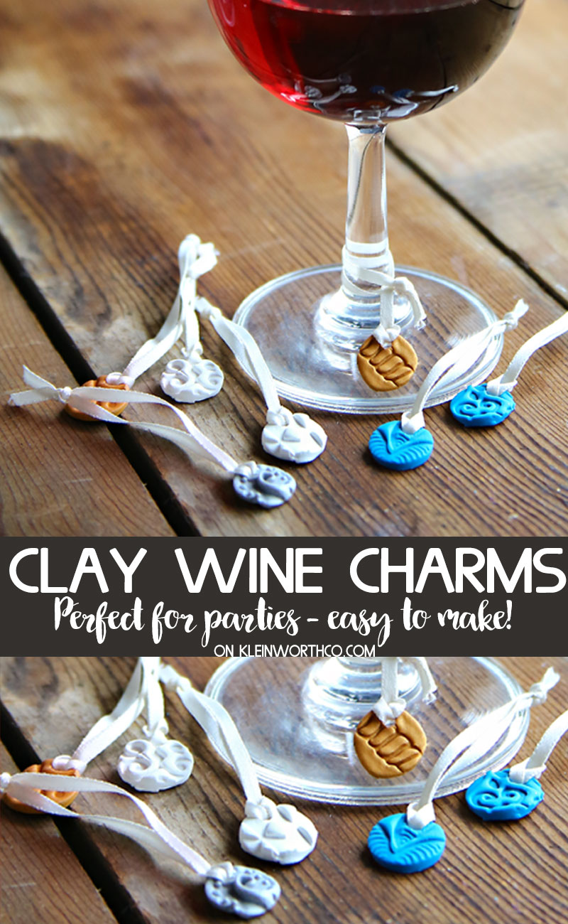 DIY Stamped Clay Wine Glass Charms