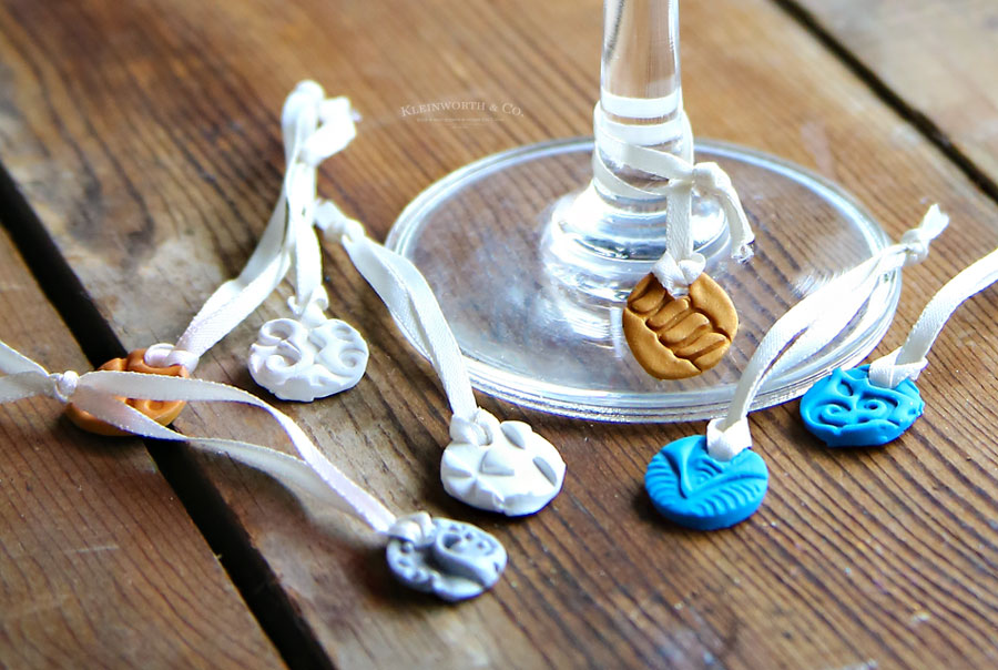 DIY Stamped Clay Wine Glass Charms tutorial