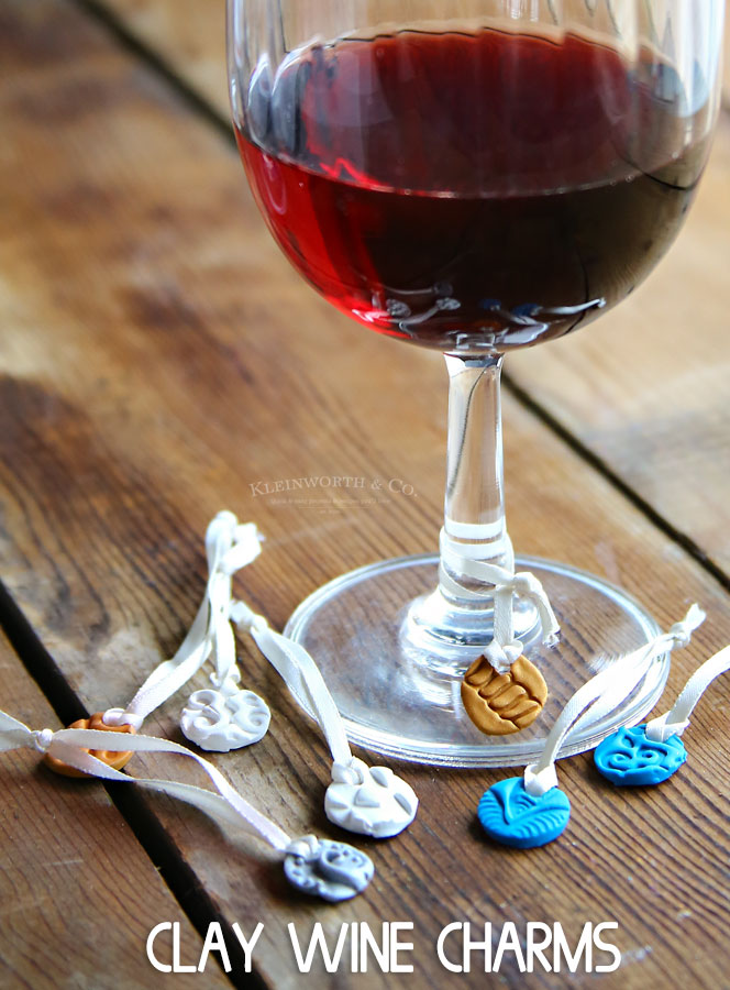 Stamped Clay Wine Glass Charms