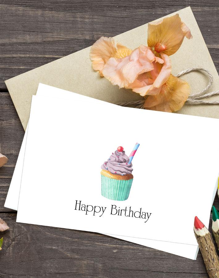 Cupcake Birthday Cards Free Printable Kleinworth Co