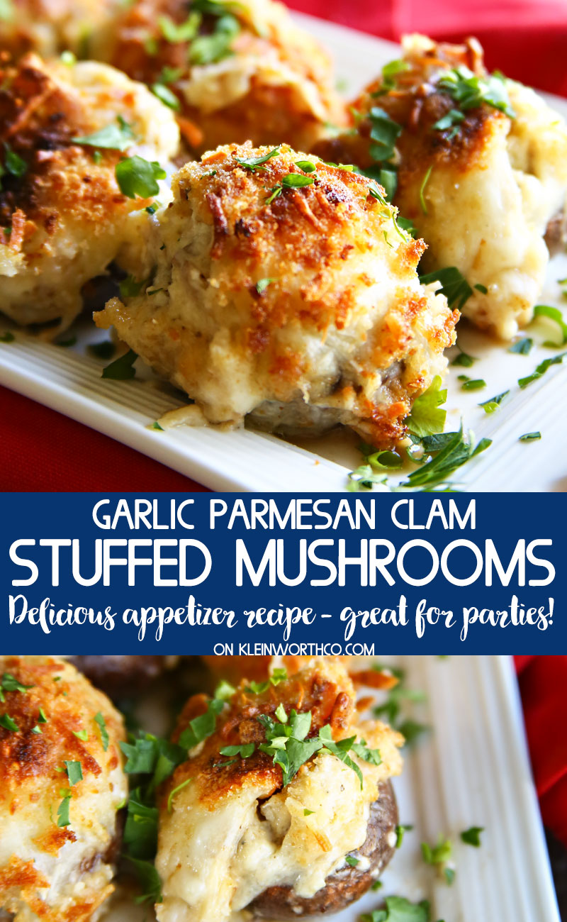 Garlic Parmesan Clam Stuffed Mushrooms recipe