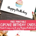 Cupcake Birthday Cards – Free Printable