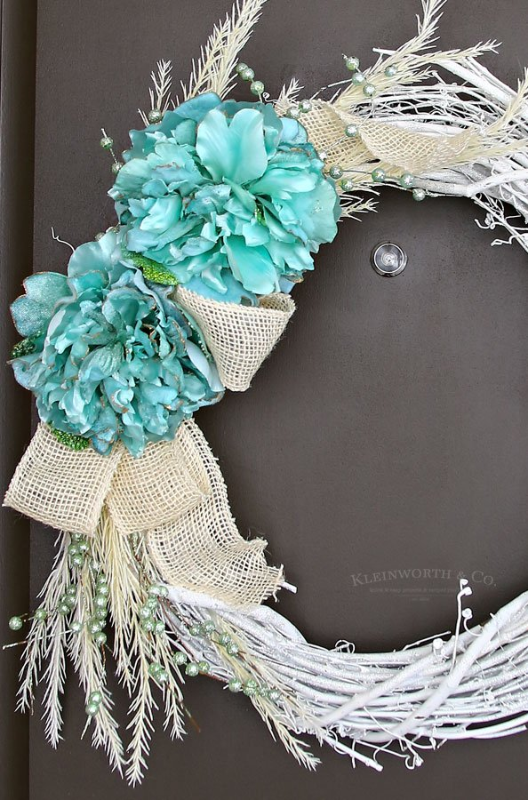 Mint & White Winter Wreath - door decor ideas