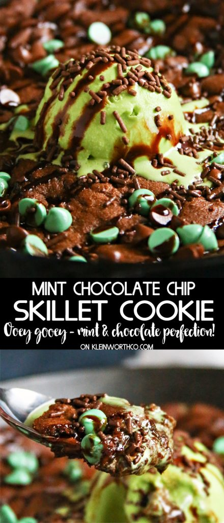 Mint Chocolate Chip Skillet Cookie