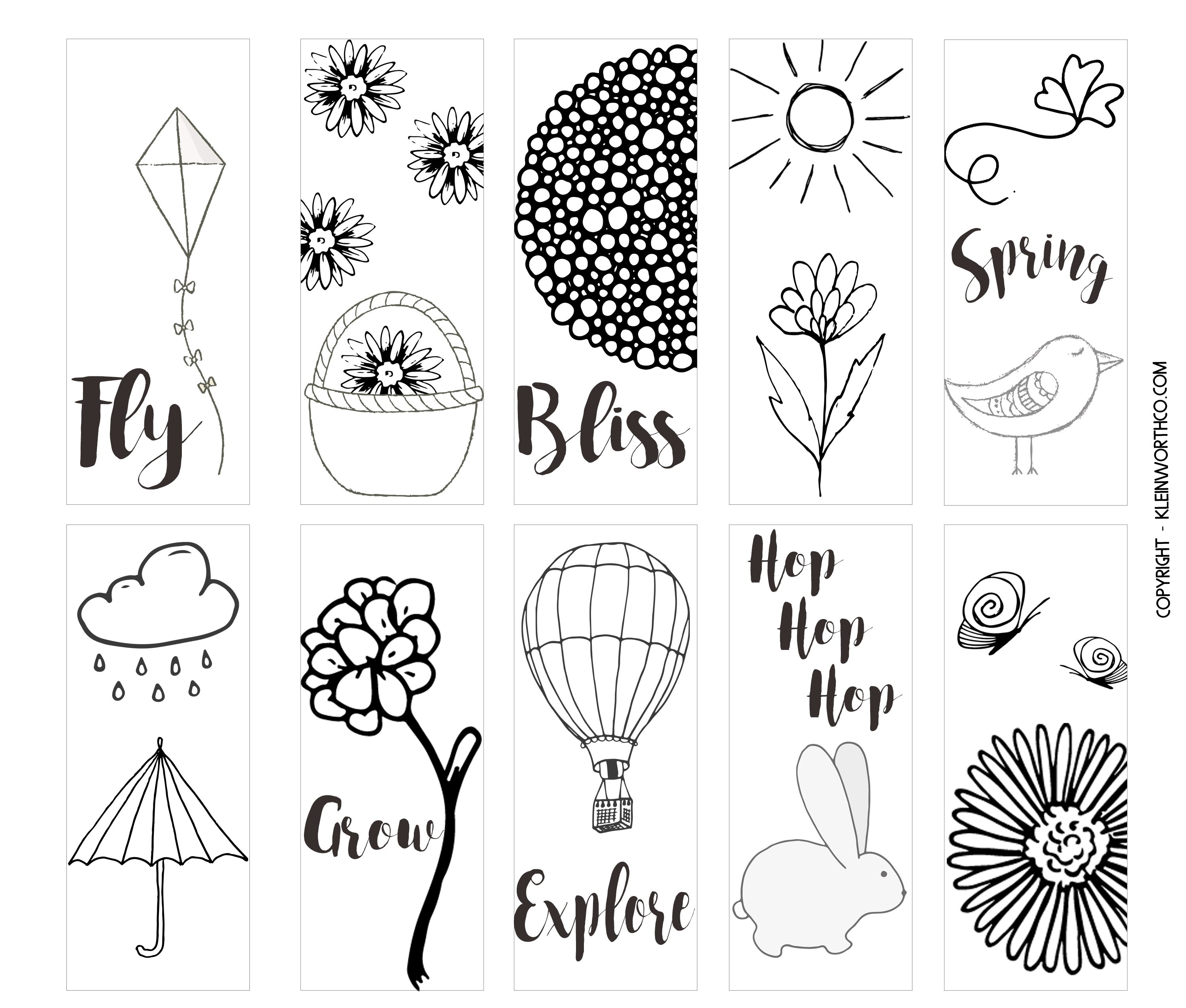 Spring Printable Coloring Page Bookmarks - Kleinworth & Co