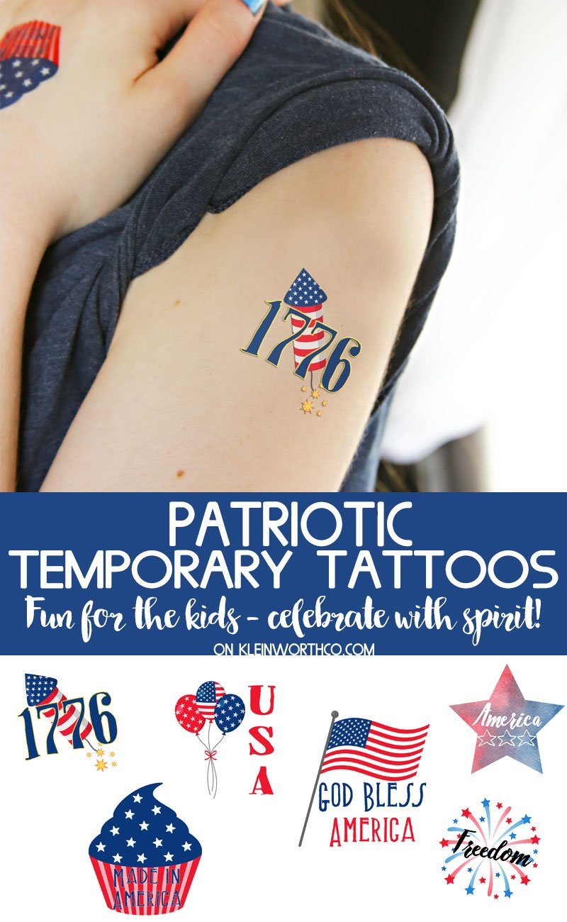 photo about Printable Tattoos titled No cost Printable Patriotic Non permanent Tattoos - Kleinworth Co
