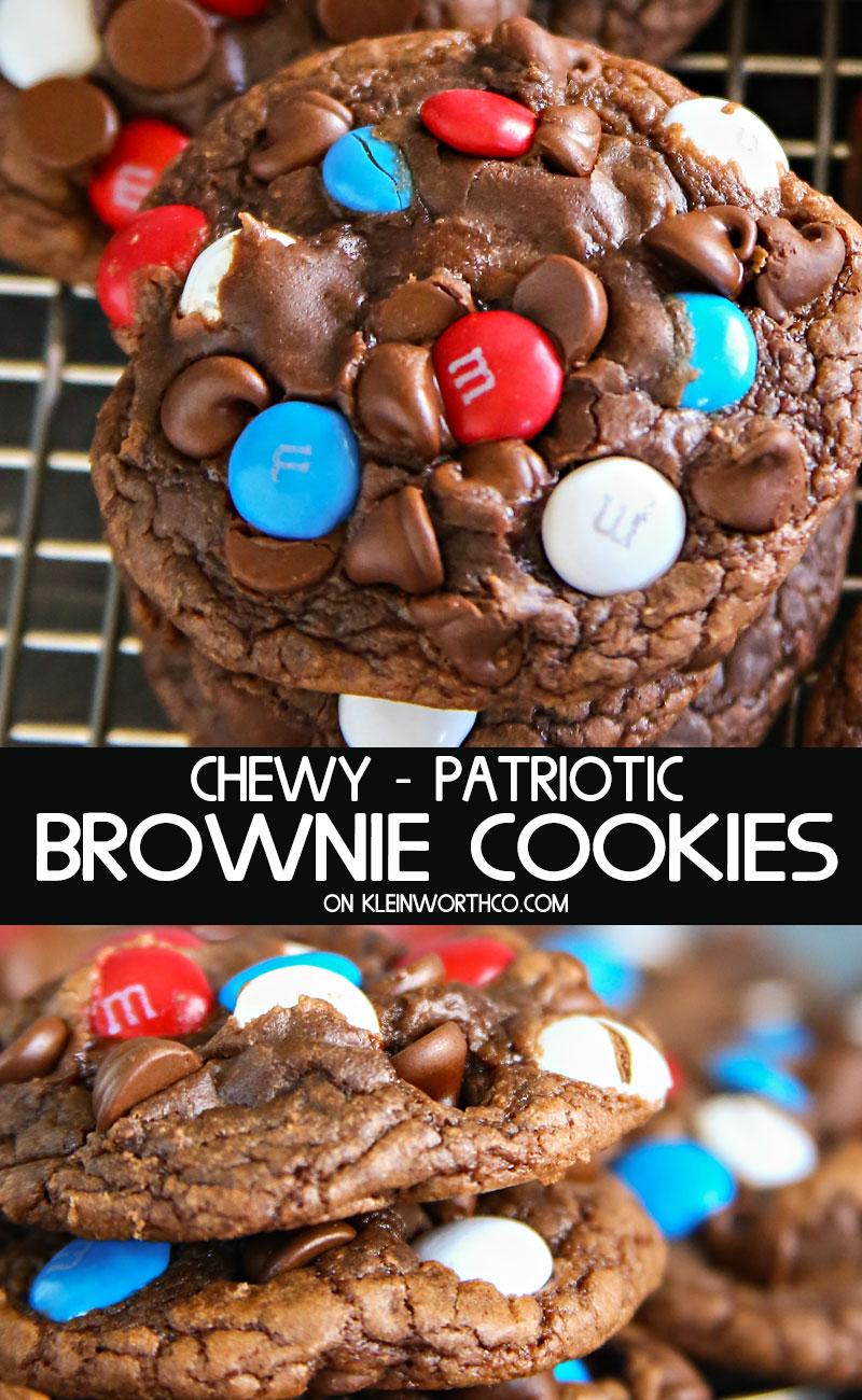 Chewy Patriotic Brownie Cookies
