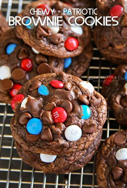 Chewy Patriotic Brownie Cookies