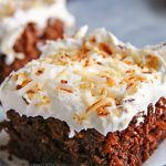 chocolate coconut cake with whipped cream