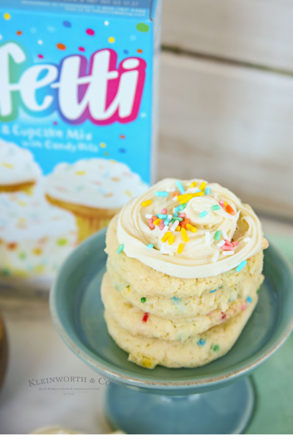 how to make Frosted Funfetti Cake Mix Cookies