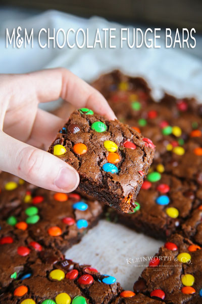 M&M Chocolate Fudge Bars