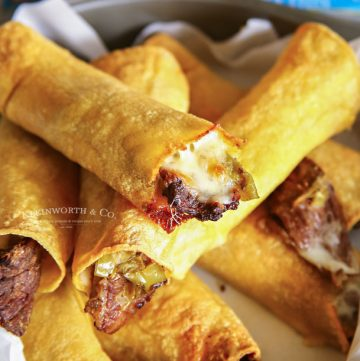 game day recipe - Air Fried Philly Cheesesteak Taquitos