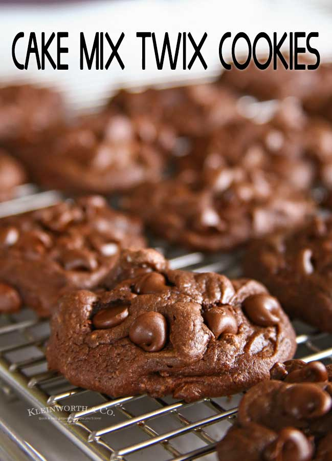 Chocolate Cake Mix Twix Cookies